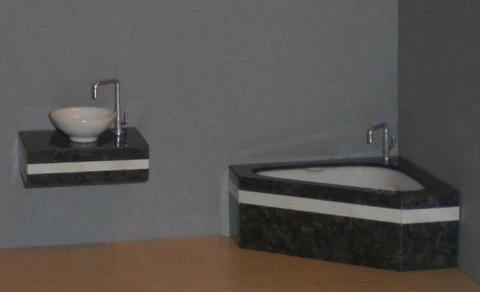 Black and white bathroom set