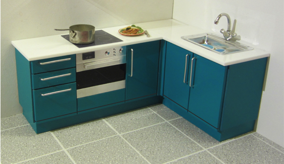 Compact corner kitchen (opening)