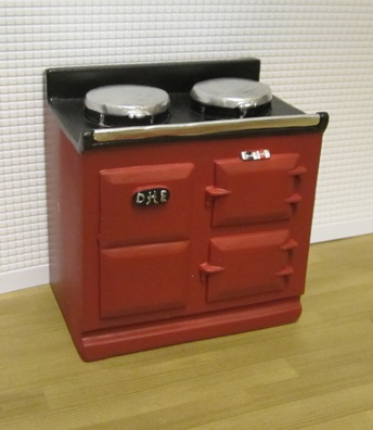Red 'Aga' style stove