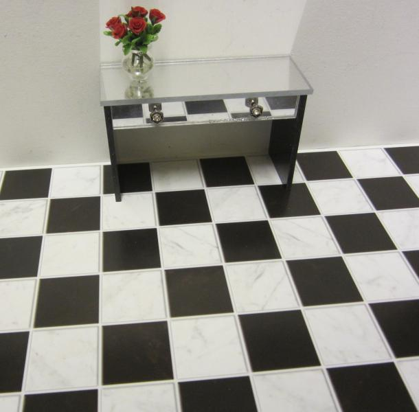 Classic black and white marble flooring - embossed