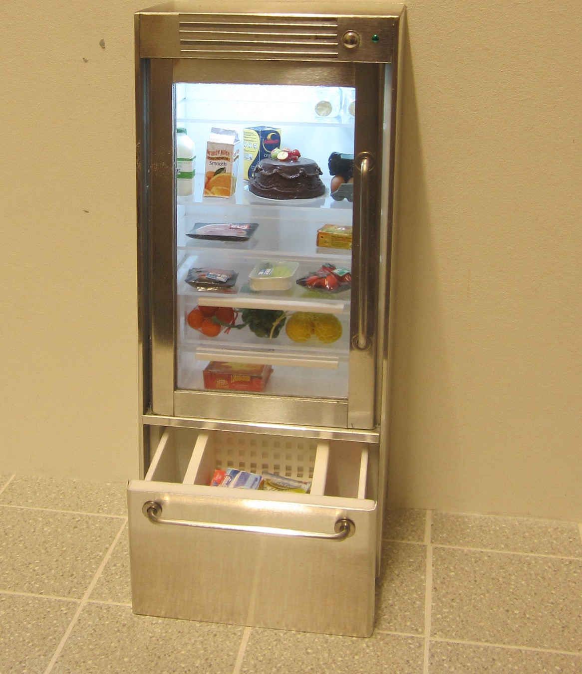 ELF glass-door refrigerator + opening drawer