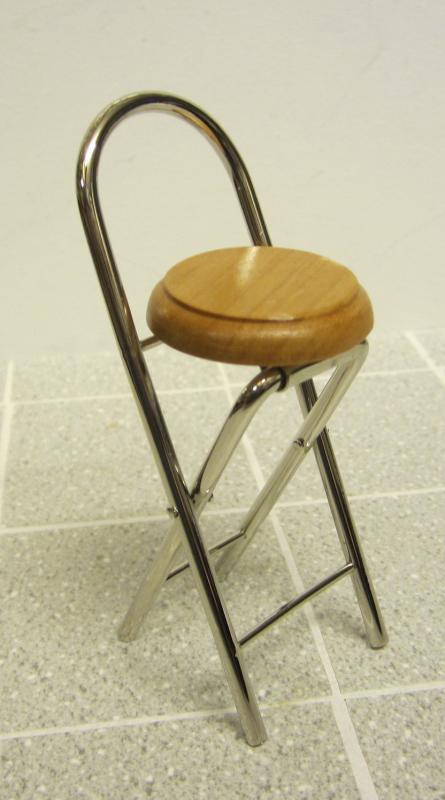 Chrome folding bar stool - oak