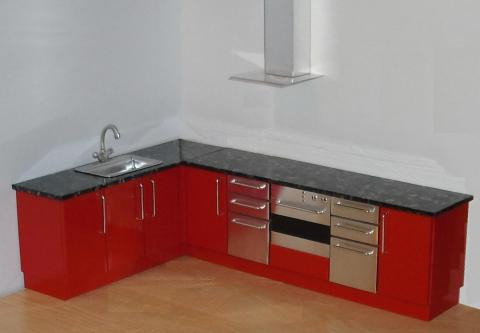 Red and steel kitchen