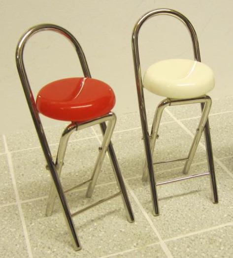 Chrome folding bar stool - choice of colours